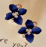 Hawaii Designs Sapphire blue Camellia Ear Studs Korean Star Hotting Sale Item Fashion Jewelry SG198