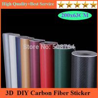 50*200CM Waterproof DIY Car Sticker Car Styling 3D 3M Car Carbon Fiber Vinyl Wrapping Film