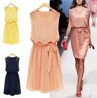 Plus Size S-XXL New 2014 Summer Women Fashion Chiffon Pleated Bow Sleeveless Shoulder Beads Tank Mini Dress Slim Dress