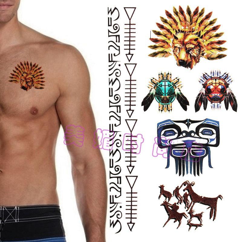 Impermeável etiqueta do tatuagem da máscara personagem masculino desenhos tribais africanos índios totem ( cole braços e pernas ) DT07(China (Mainland))
