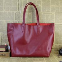Lady fashion brief cowhide shoulder bag handbag large bag women's genuine leather fashion shopping bag