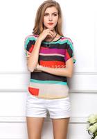 2014 new dress Loose big yards of irregular colorful stripe batwing coat chiffon short sleeve T-shirt