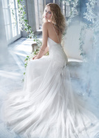 Sexy backless lace  white ivory  V-neck sweep train beach wedding dresses bride gown custom made free shipping
