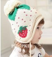Free shipping 2014 new fashion children cap children hat Strawberry wool cap thick Warm hat wool cap , scarf piece suit