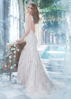 2015 Chic  white ivory lace V-neck sweep train sheath wedding dresses bride gown custom made  smt1233