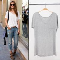 2014 hot solid color t-shirt women's short-sleeve  plus size modal basic t shirt summer loose t shirt