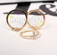 50pcs free ship lady fashion alloy jewelry finger ring tail ring rhinestone Cross hand ring 1.6cm 1.7cm 1.8cm choosing