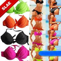 2014New Designer swimsuit swimwear bow underwire push up Ladies Padded Bra bathing suits sexy women bikinis set beach wear