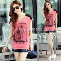 2014 summer cotton loose short-sleeve t-shirt female fat style plus size clothing women's chiffon shirt girl tops