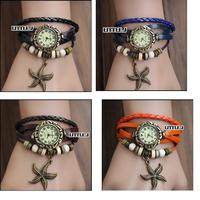 Womens Fashion Starfish Bracelet Wrap Wrist Watch Quartz Movement Watches More Color Choice