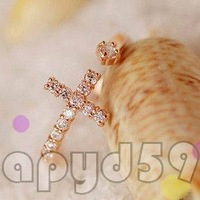 10pcs free ship lady or man fashion alloy jewelry finger ring Open-end ring rhinestone Cross hand ring