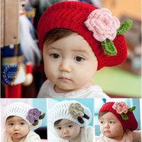 New 1piece Baby Berets Hat girls big flower hats kids children cap 4 colors can pick handmade baby flower hat beret