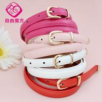2014 New fashion Thin women leather belt  mirror surface smooth all-match buckle straps Girls Fashion Accessories  women's brand