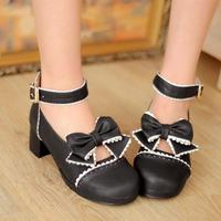 Free shipping Fashion Hot Bow Lolita shoes thick heel pumps cute platforms Black Brown Purple round toe shoes woman EU 35-42