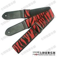 Free shipping high quality red zebra-stripe folk Guitar Strap Adjustable Length Acoustic Electric Folk Bass Guitar Strap