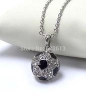 Tops 2014! Fashion Costume Jewelry Crystal Rhinestone Half ball  Soccer Charm Pendant Sport Necklace xy052