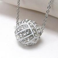 Tops 2014! Fashion Costume Jewelry Crystal Rhinestone Half Ball Volleyball Charm Pendant Sport Necklace xy060