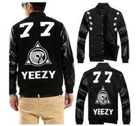 Tide Brand New Spring 2014 Men'S Baseball Uniform Number 77 Pentagram Leather Sleeve Jacket Men'S Stand Collar Coat XG-69
