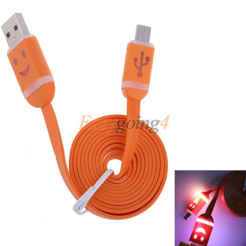 EA14 Orange Flat LED Light Smile Face USB Data Sync Charger Cable for Samsung(China (Mainland))