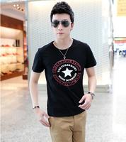 HOT!wholesale 2014 star printed t shirt men brand short sleeve O neck cotton man t shirt tops M-XXL size 4color