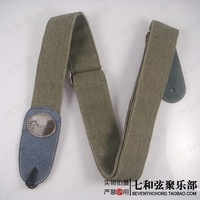 Free shipping army green bilayer canvas folk Leather Head electric guitar, electric bass, Guitar Strap, Guitar Suspender