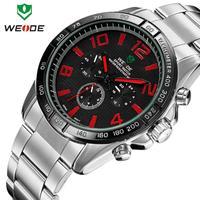WEIDE new 2014  luxury brand quartz fashion casual sportsmen full steel watch luxury waterproof 6 colors male clock wristwatch
