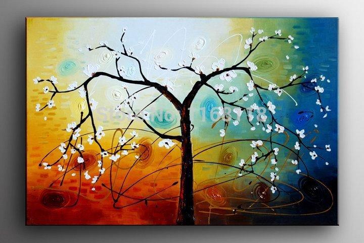100 % pintado à mão ramos Primavera pintura a óleo vida árvore abstrata da paisagem stii on canvas 40x40cm pronto para pendurar emoldurado(China (Mainland))