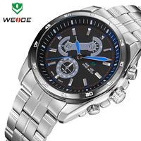 new brand luxury watches men Original Japan quartz movement stainless steel watch 3ATM WEIDE male clock military watches