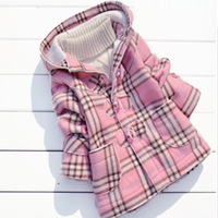 autumn and winter new arrival girl jacket Coats for children child plaid cardigan thickening outerwear trench top Pink C116