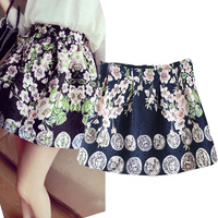 2014 New Winter  Women Cute Skirt High Waist Peach Blossom Pattern Pleated Flare Skirt  USA &American Brand Design