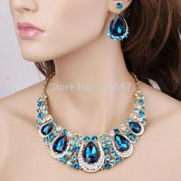 Hot Sale Free Shipping Wholesale Women Crystal Rhinestone Bridal Jewelry Set African Wedding Jewelry Set Big Necklace Earrings