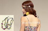 5 pcs/lot Bohemian Headband Hair band Rose Flower Braided Leather Elastic Headwrap hairband Hair Ornaments Free/Drop shipping