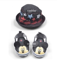 Free shipping New arrival Baby Jeans Shoes+Hat Set Fashion Design Newborn Boys shoes hat set,prewalker