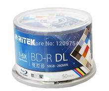 50 Pack 50GB BD-R 1-6X Speed High Grade Ritek Printable Bluray DL double layer Blank Disc(China (Mainland))