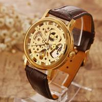 Skeleton Watch Man Luxury Winner Leather Hand Wind Watch relogios da china relogio dourado orologio uomo