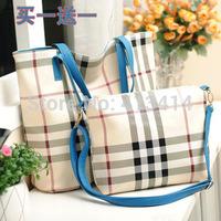 Fashion Bur Style Plaid Women Leather Handbags Multi Use Lady Messenger Bags New 2014 Blue Yellow Bag Free Shipping Wholesale