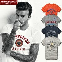 Free shipping New 2014 summer dress men shirt brand tshirt Streetwear Short sleeve Cotton Printing Embroidery T shirt S-XXL KT03