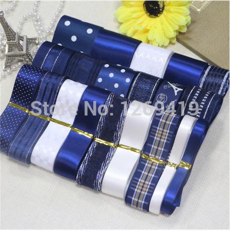 Free shipping 22 yards 20 styles Deep blue bowknot hairpin DIY manual material grosgrain/ribbon/whorl ribbon sets(China (Mainland))