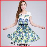 PLUS SIZE  women's 2014 summer new Korean version of Slim short-sleeved silk dress in printed chiffon lace dresses