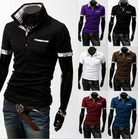 Size M-XXL 6 Colors New Fashion Men's Plaid Patchwork Slim Cotton Casual Polos Shirts Free Shipping LJM012