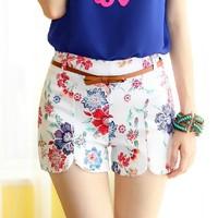 new 2014 women shorts Summer floral shorts Casual Harem Pants Straight Mid Elastic Waist Flowers print Pattern shorts femininos