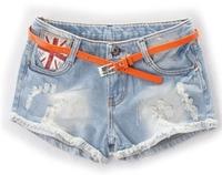 2014 women shorts summer fashion hole jeans shorts female denim feminino UK flag cheap women short low waist casual pants S/M/L