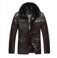 hot sale men's coat , 2014 new fashion leather jacket , long length big size suede 115