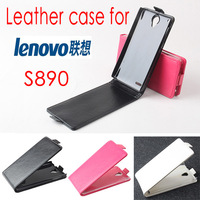 Free shipping s890 case Fashion Top quality flip100% Real cowhide leather up and down cove case for Lenovo S890