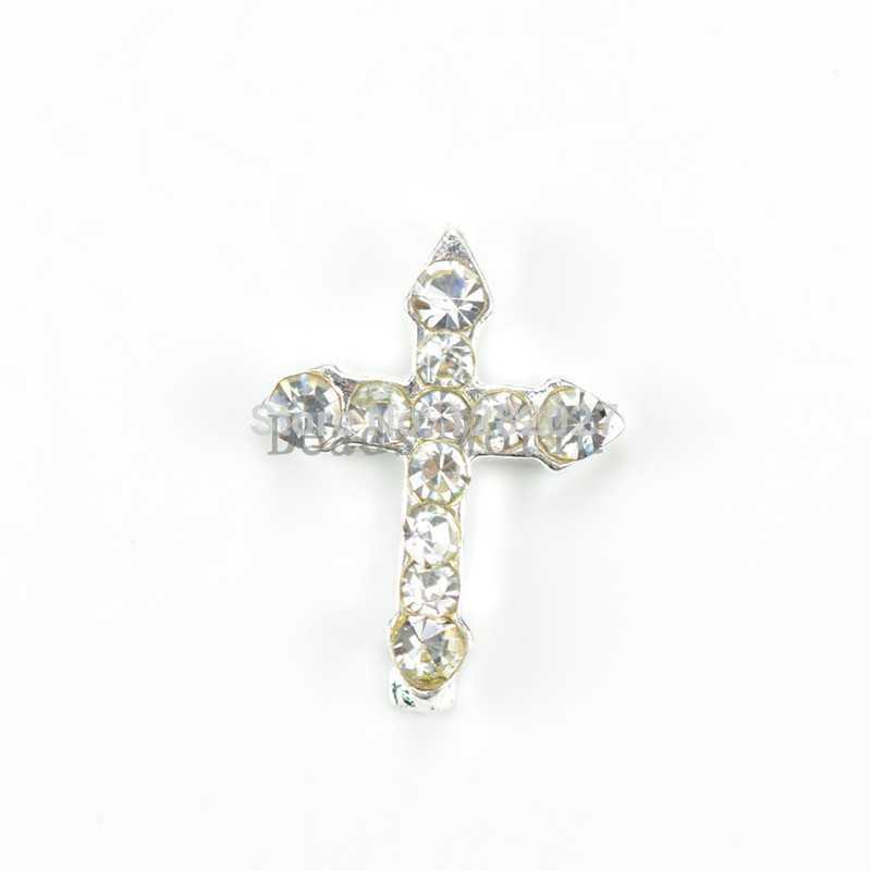 20 Pcs Alloy 3D Glitter Decal Silver Plate White Rhinestone Beauty Cross Nail Sticker For Nail Tips Art Decoration DIY 10x8mm(China (Mainland))