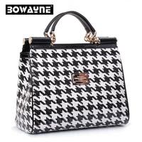 2015 women's leather handbag fashion british style houndstooth bags women messenger bag