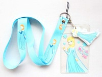 Free shipping 50pcs Cartoon Frozen Blue Lanyard/Work cards/ key chains /Neck Strap Lanyard wholesale
