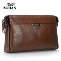 Male leather clutch bag day clutch first layer of cowhide genuine leather wrist length bag large capacity