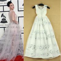 2014 Summer European Style Cute Elegant Brand Sleeveless & Floor-Length Organza Music Note White Beautiful Long Dress