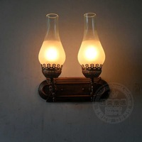 Europe American country Fashion candle  wall lamp kerosene lamp double slider rustic bedside mirror light iron